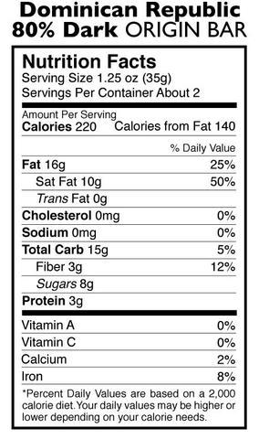 Taza 80%-os organikus étcsokoládé dominikai kakaóból