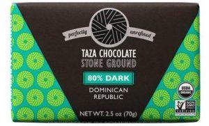 80%-os organikus étcsokoládé Dominikából Taza